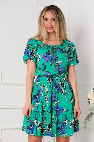 Rochie Summer verde cu imprimeuri florale