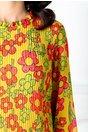 Rochie Sylvia galbena plisata cu imprimeu floral
