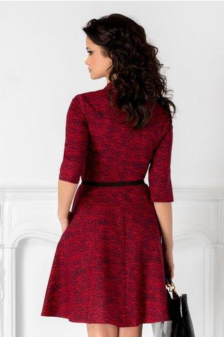 Rochie Sylvia rosie cu imprimeu negru