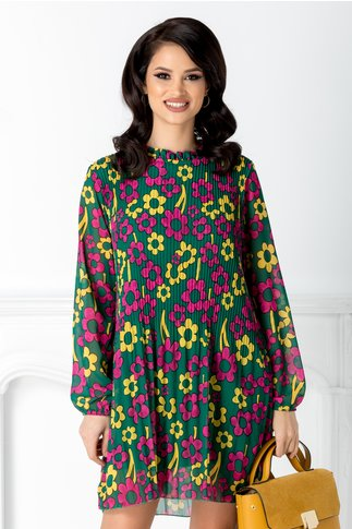 Rochie Sylvia verde plisata cu imprimeu floral