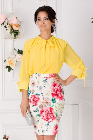 Rochie Tabi galben si alb cu imprimeu floral colorat