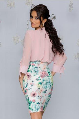Rochie Tabi roz prafuit cu alb si imprimeu floral pastelat