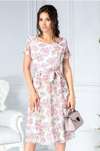 Rochie Tabita alba de zi cu imprimeu floral roz