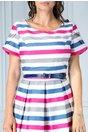 Rochie Tabita de zi alba in dungi roz albastru gri