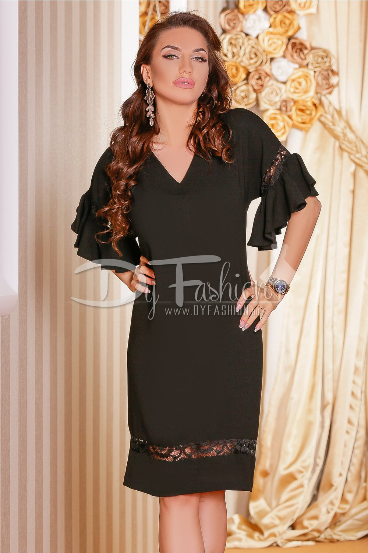 Magazin Online Haine - Rochie Tabita Neagra Croi Larg -Fashion-4u.Eu