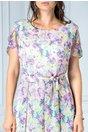 Rochie Tabita roz de zi cu imprimeu floral lila