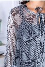 Rochie Taby din voal cu imprimeu piele de crocodil gri