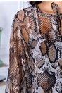 Rochie Taby din voal cu imprimeu piele de crocodil maro