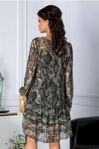 Rochie Taby din voal cu imprimeu piele de crocodil vernil