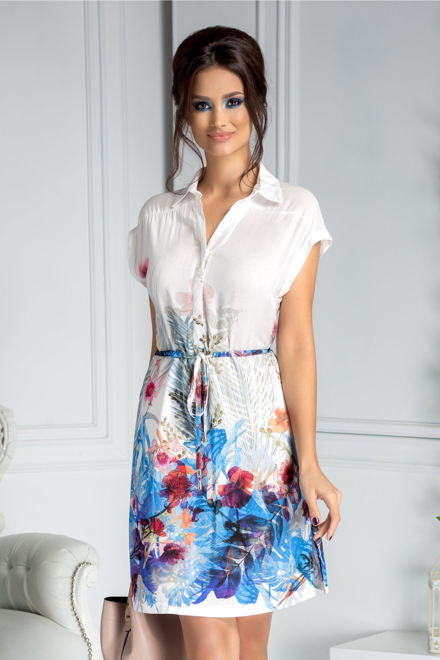Rochie Taisa alba stil camasa cu imprimeu floral