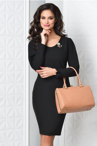 Rochie Taisa neagra office cu brosa eleganta