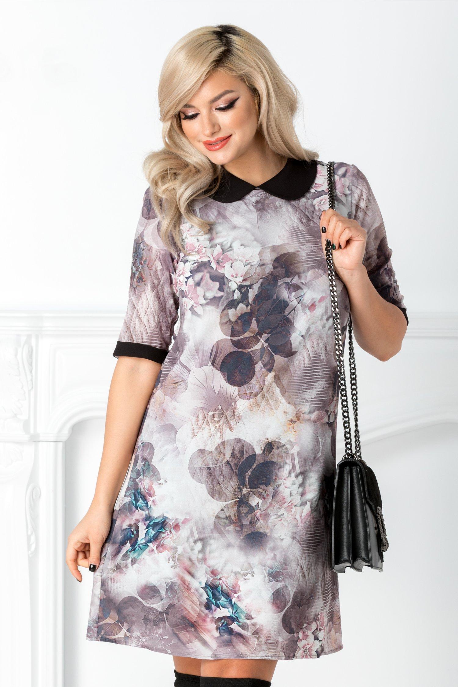 Rochie Taisia gri rose cu imprimeu floral