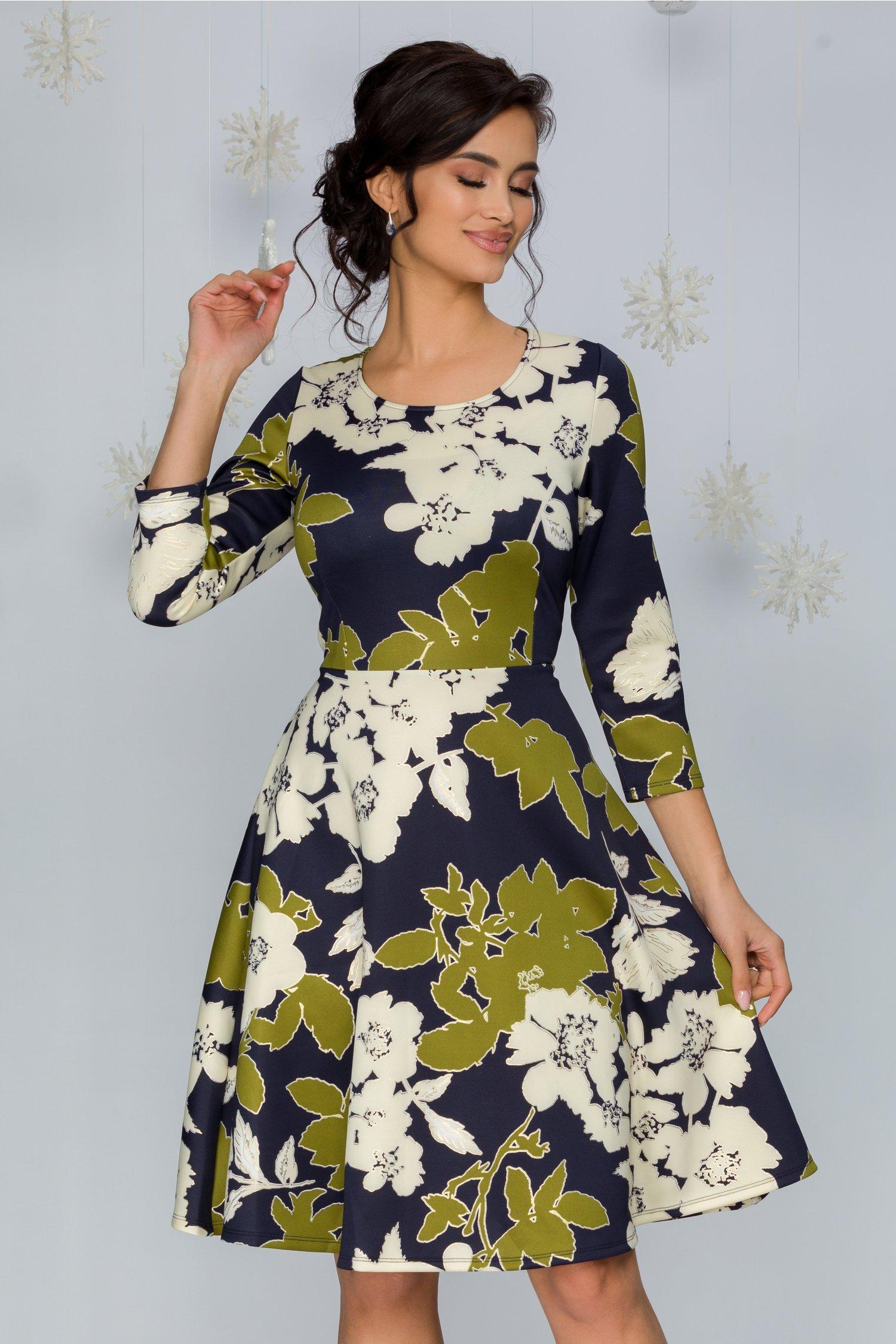 Rochie Talima bleumarin cu imprimeu floral diverse culori