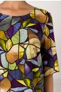 Rochie Tamara cu imprimeu mozaic multicolor