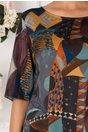 Rochie Tamara gri cu imprimeu abstract