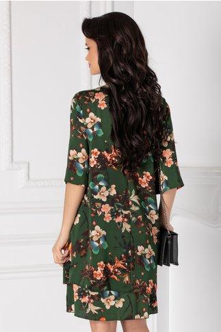 Rochie Tamara verde cu imprimeu floral si fluturi