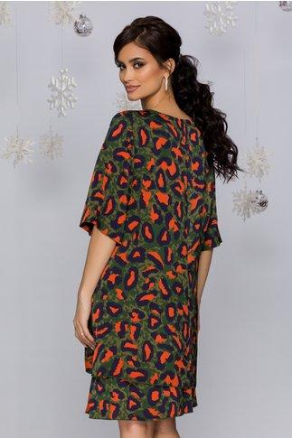Rochie Tamara verde cu imprimeuri abstracte bleumarin si orange