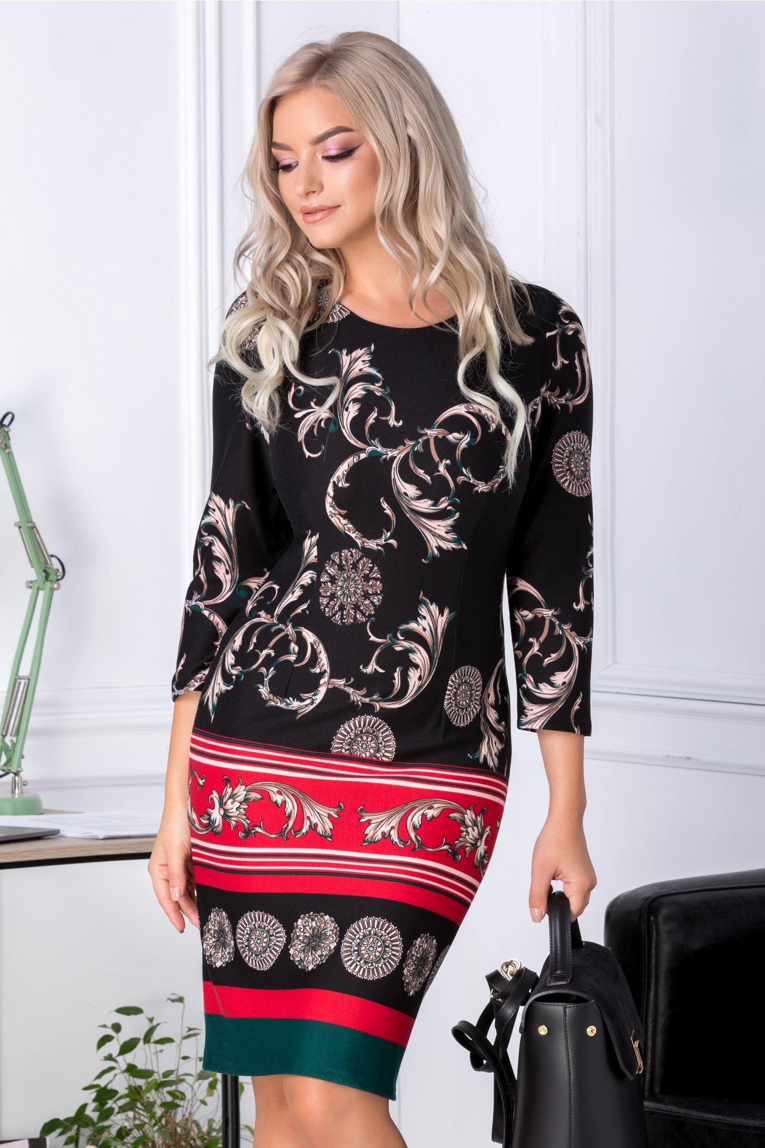 Rochie Tami neagra cu motive florale bej