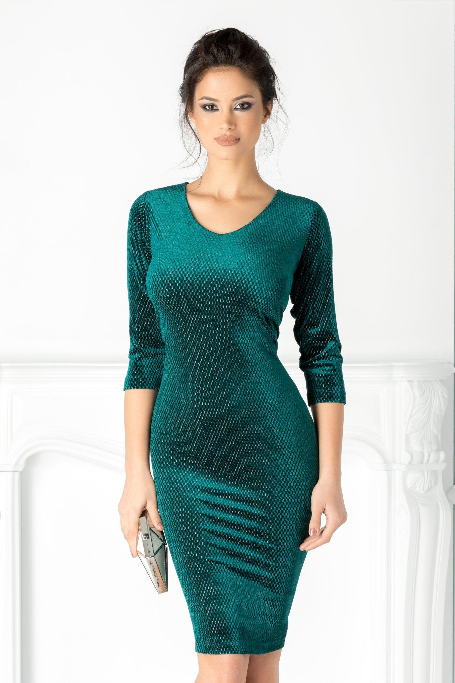 Rochie Tania din catifea verde cu insertii argintii