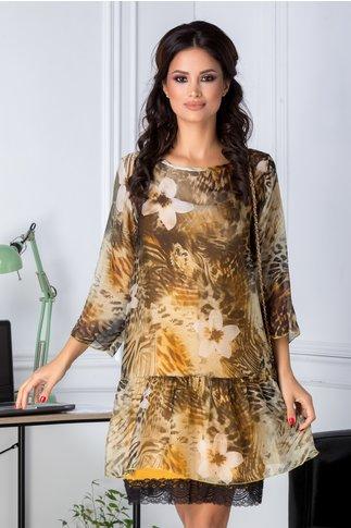 Rochie Tania galbena vaporoasa cu imprimeu
