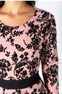 Rochie Tania negru si roz cu insertii catifelate