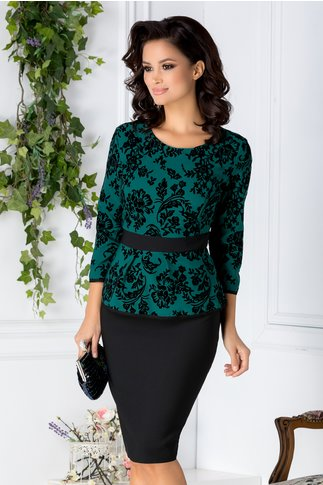 Rochie Tania negru si verde cu insertii catifelate