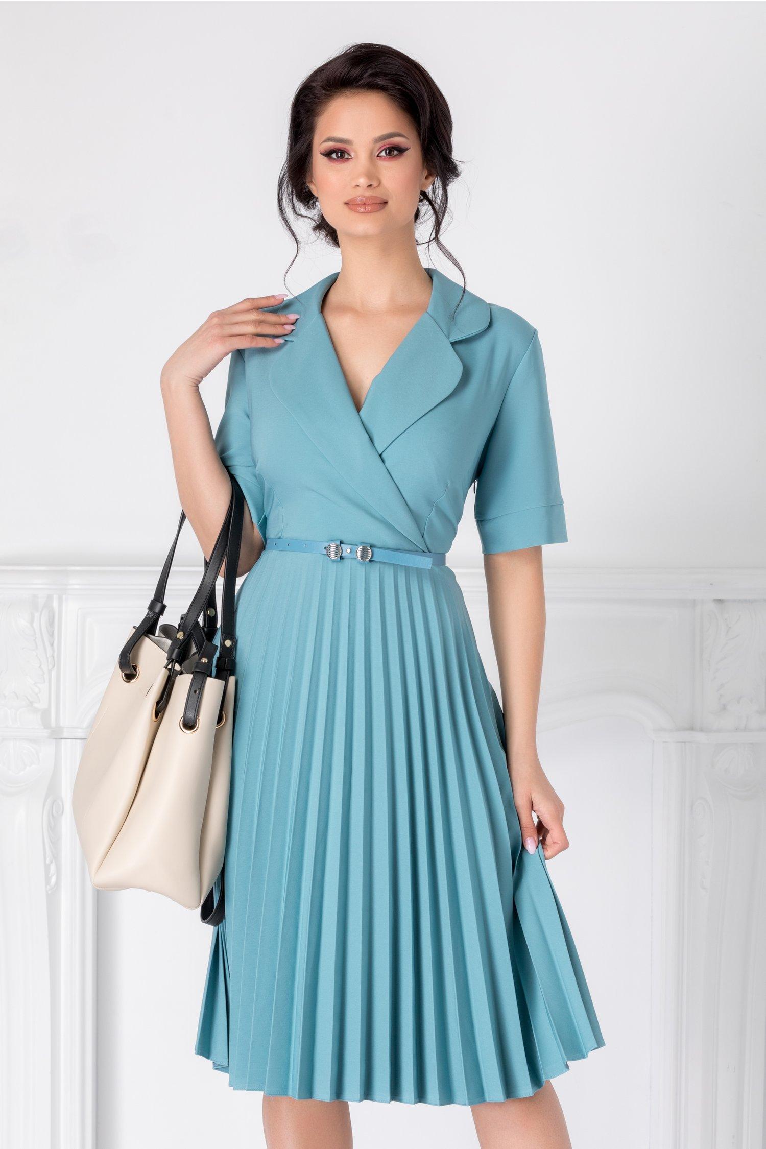 Rochie Tanya bleu clos plisata