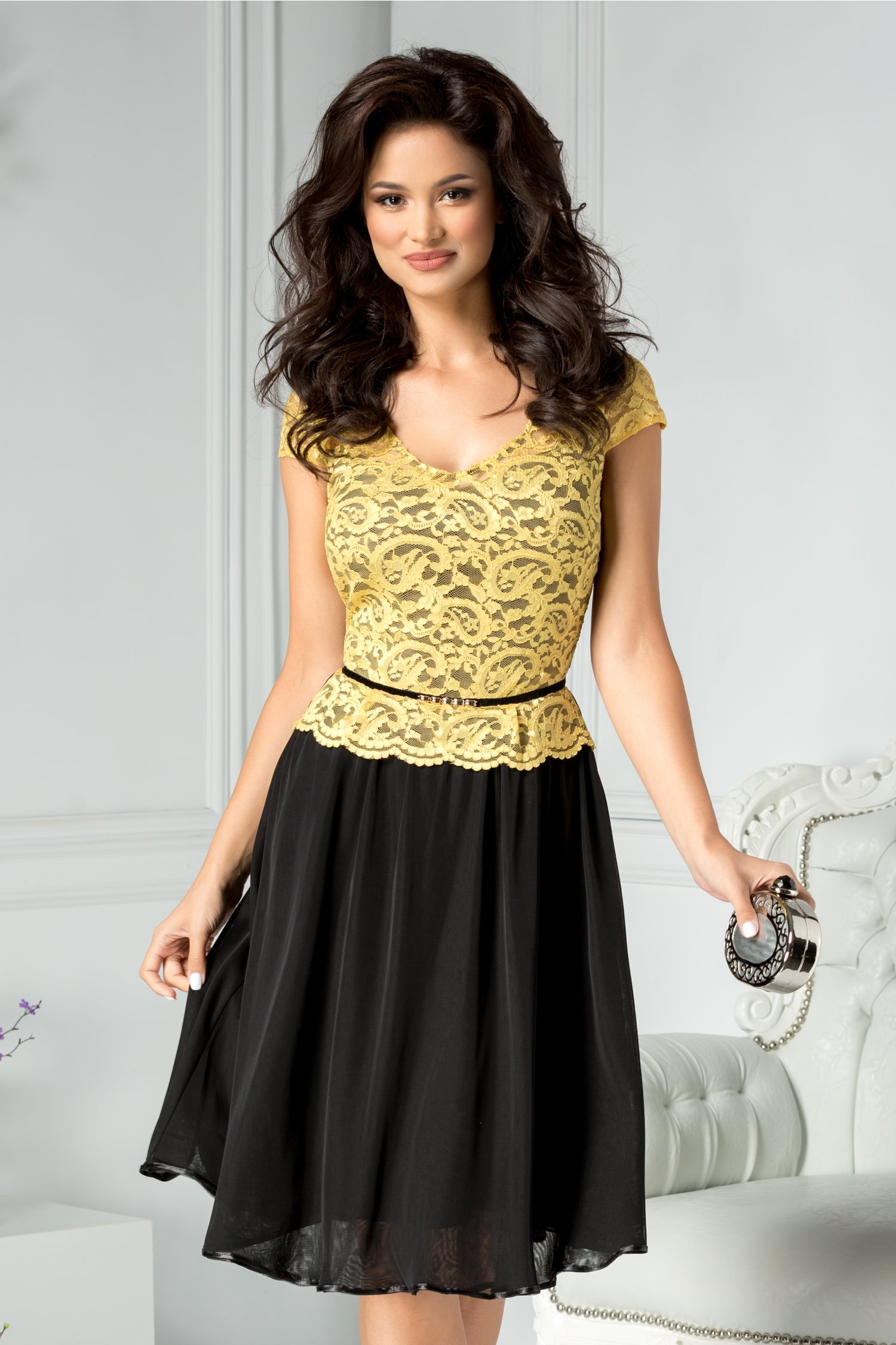 Rochie Tanya de ocazie galben si negru cu dantela la bust
