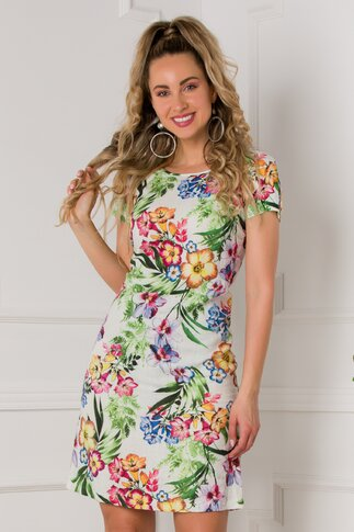 Rochie Tara alba cu imprimeuri florale colorate