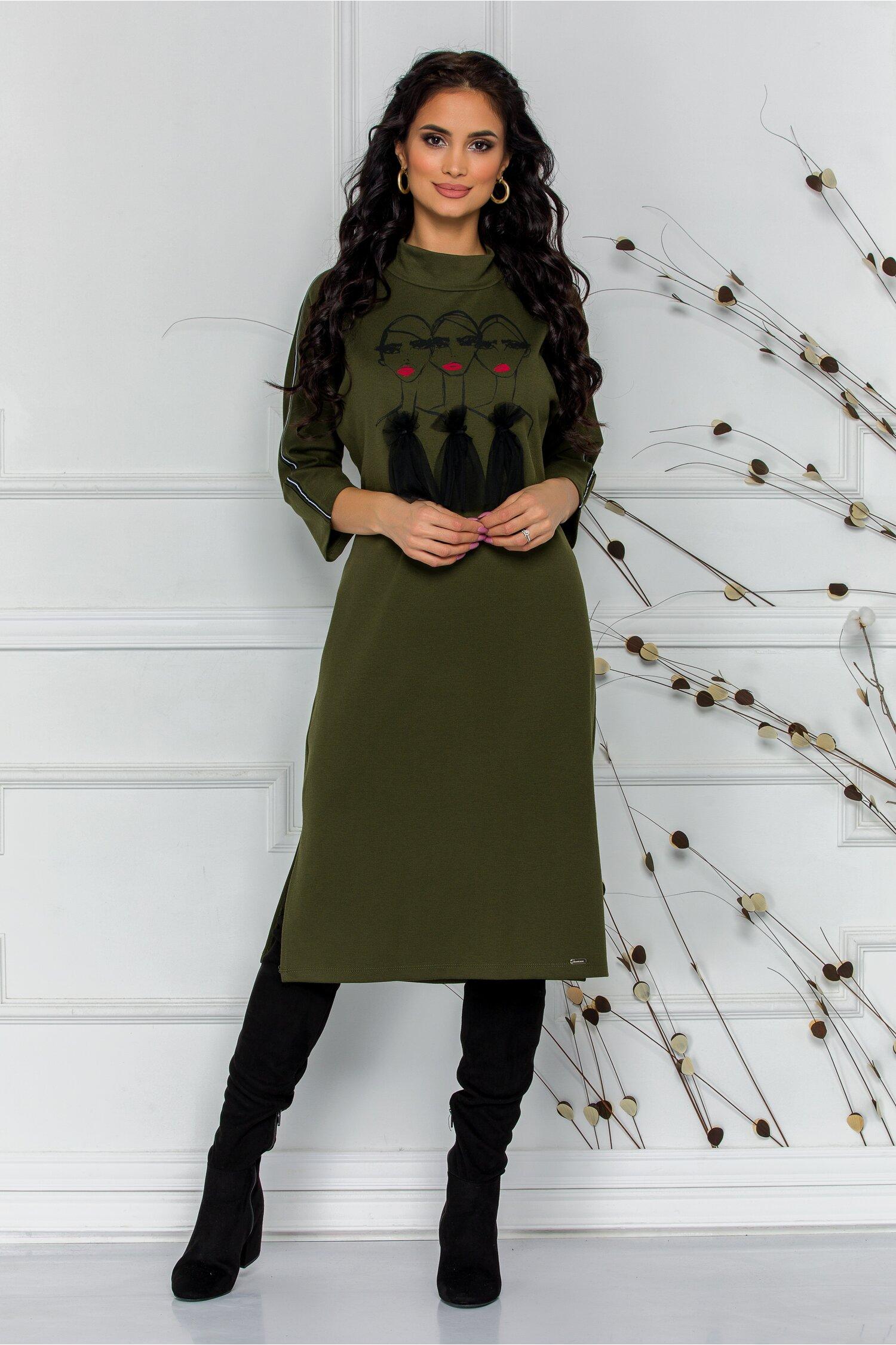 Rochie Tara kaki casual cu imprimeu fashion
