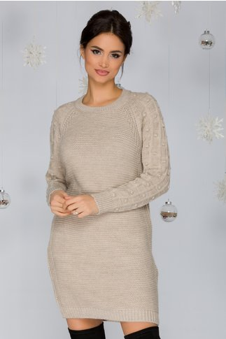 Rochie Tatiana bej tricotata cu model in relief pe maneci