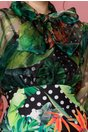 Rochie Tatiana cu bust din organza si imprimeu exotic