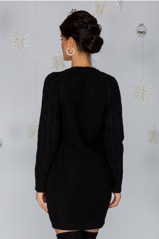 Rochie Tatiana neagra tricotata cu model in relief pe maneci