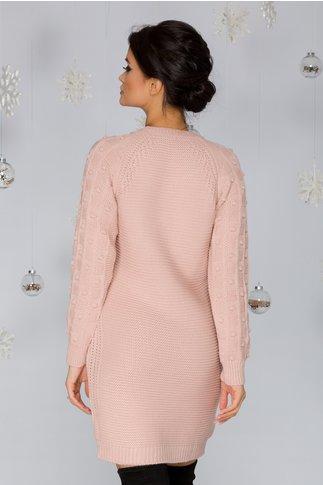 Rochie Tatiana roz tricotata cu model in relief pe maneci