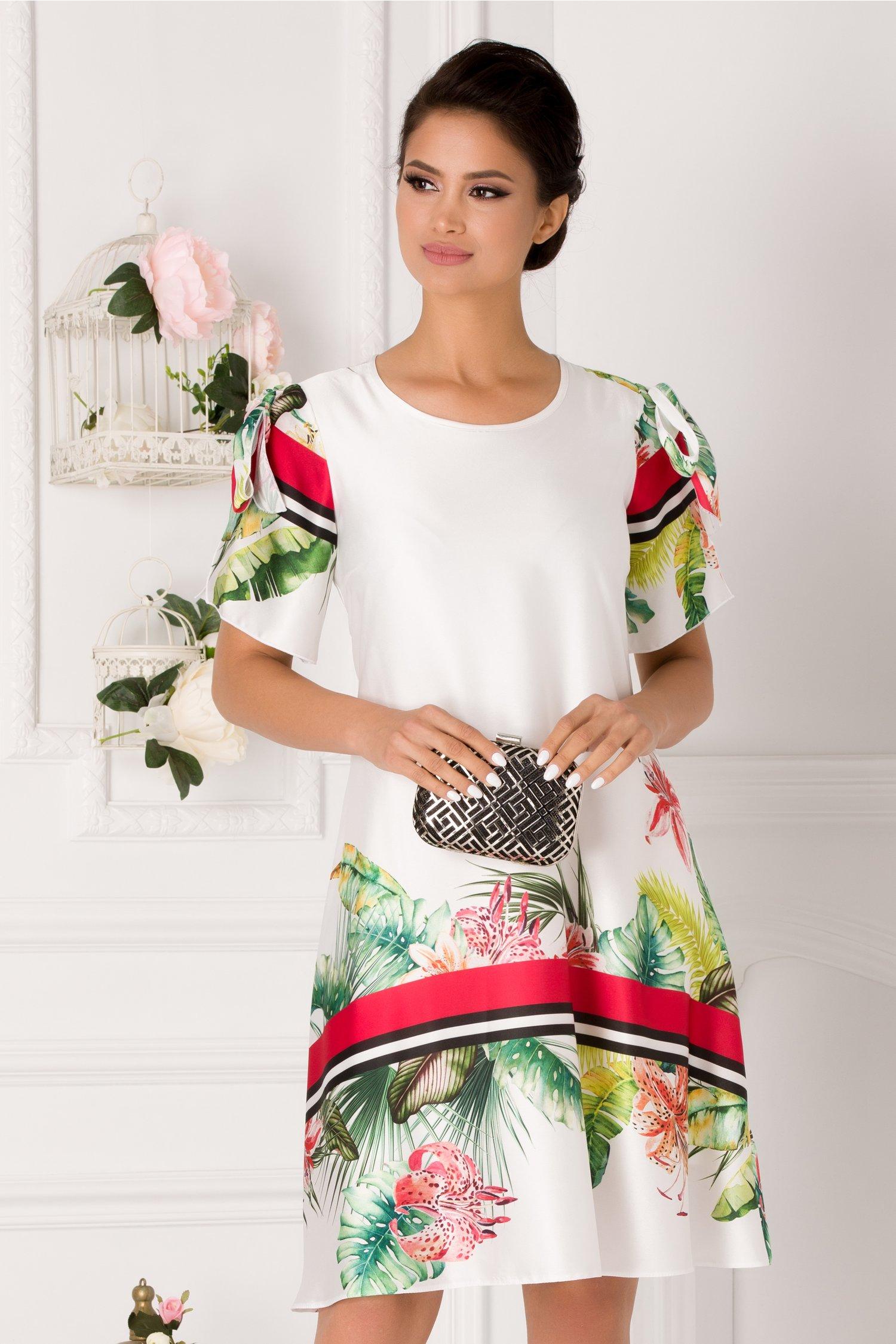 Rochie Taylor alba cu imprimeu floral si dungi