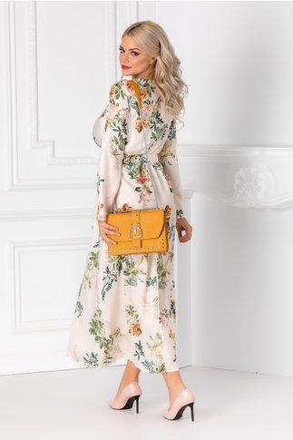 Rochie Taylor bej cu cordon in talie si imprimeu floral