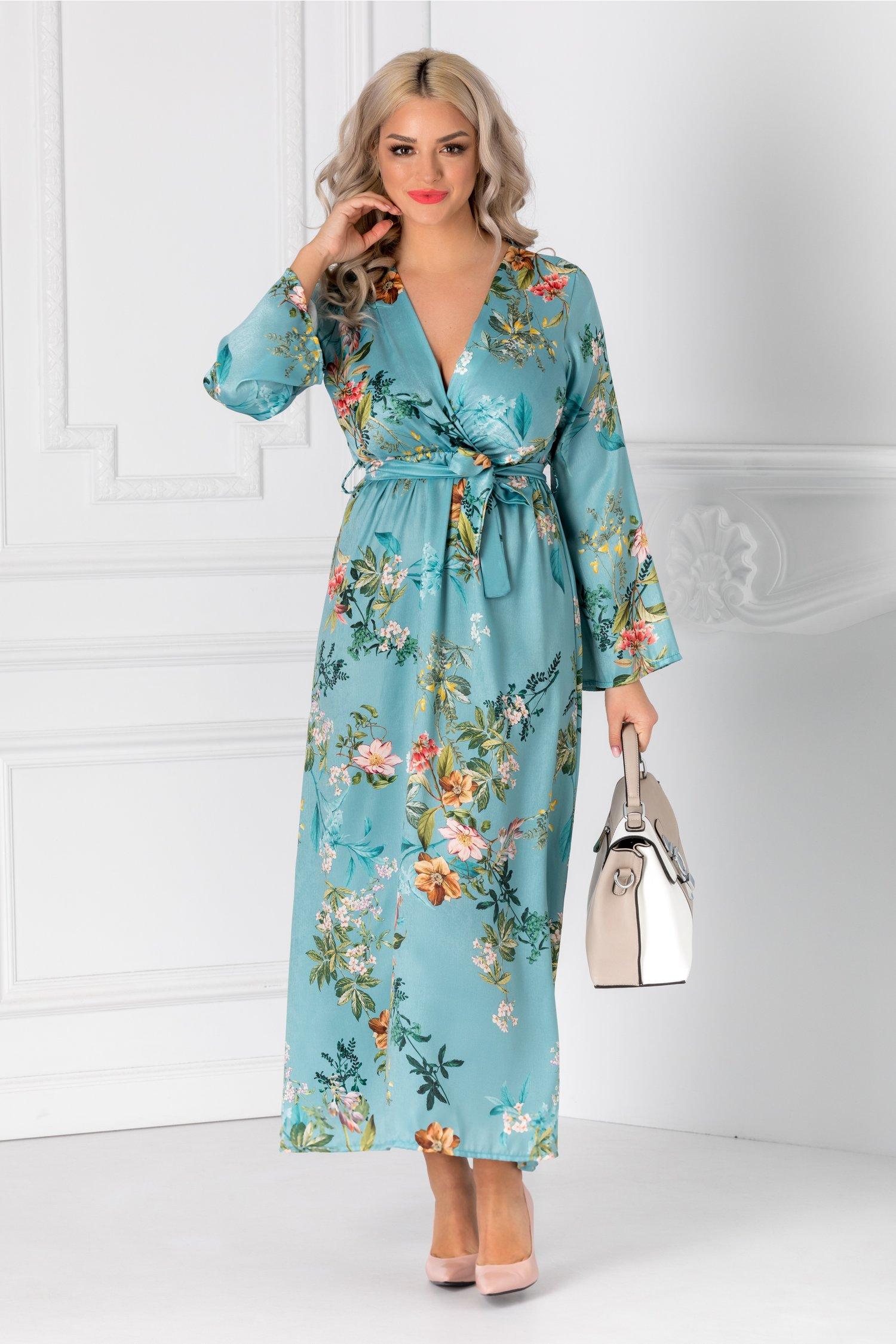 Rochie Taylor bleu cu cordon in talie si imprimeu floral