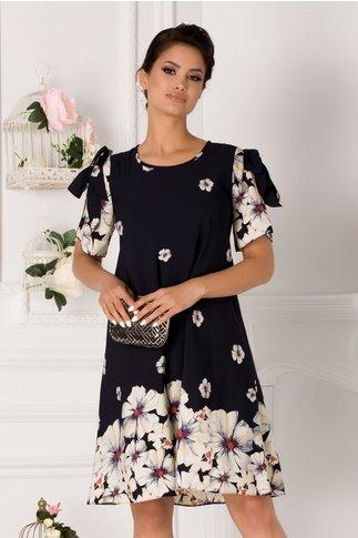 Rochie Taylor bleumarin cu imprimeu floral bej