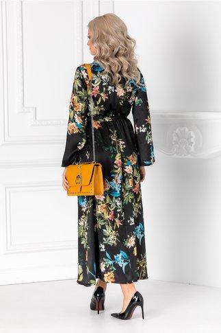 Rochie Taylor neagra cu cordon in talie si imprimeu floral