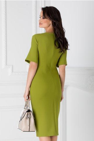 Rochie Teodora verde lime cu aplicatii metalice