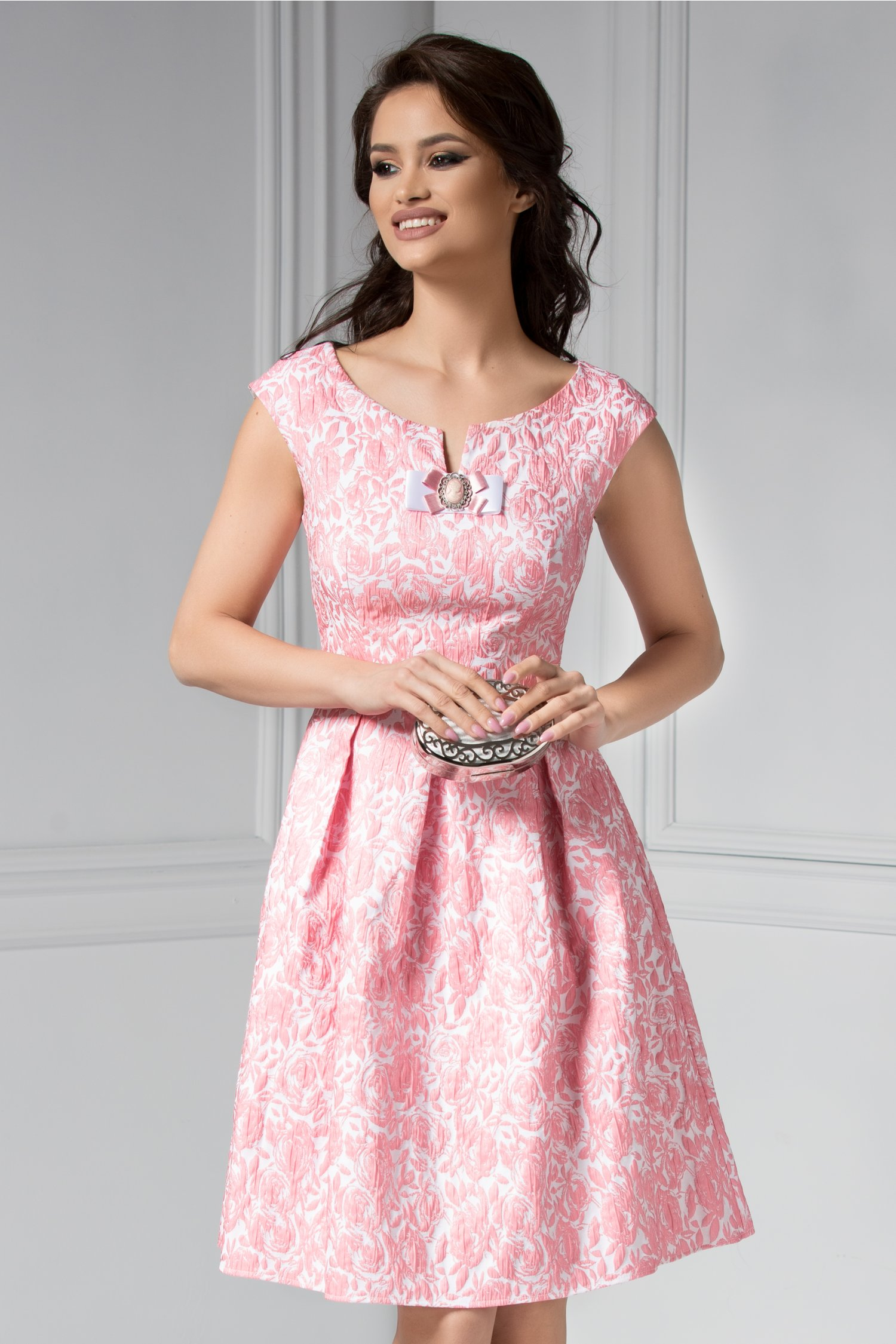 Rochie Teona de ocazie din jacard roz