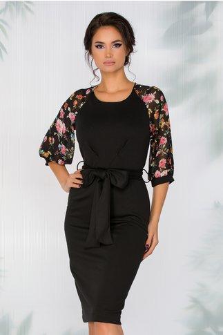 Rochie Teresa neagra cu imprimeu floral in nuante de roz si orange la maneci