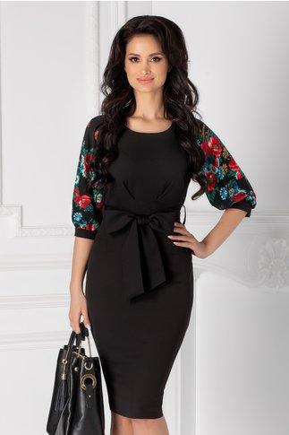 Rochie Teresa neagra cu imprimeu floral la maneci