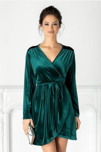 Rochie Teresa verde din catifea petrecuta