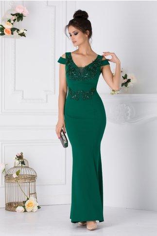 Rochie Teresa verde lunga cu broderie florala la bust si in talie