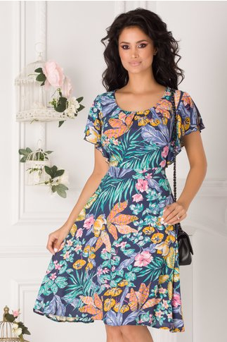 Rochie Tessa bleumarin cu imprimeu floral exotic