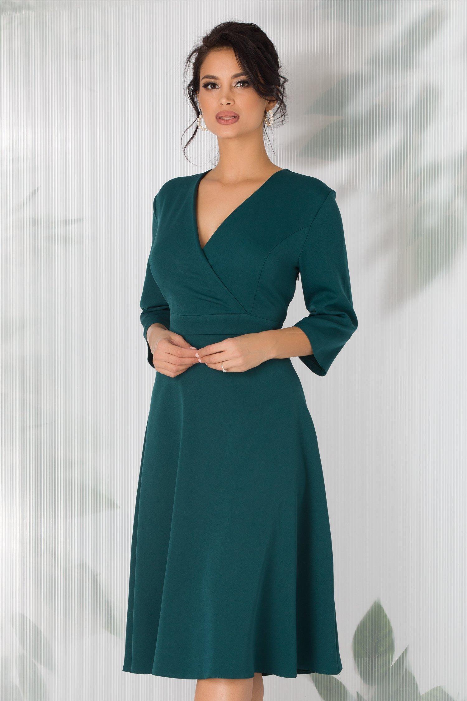 Rochie Thalia verde inchis cu decolteu petrecut
