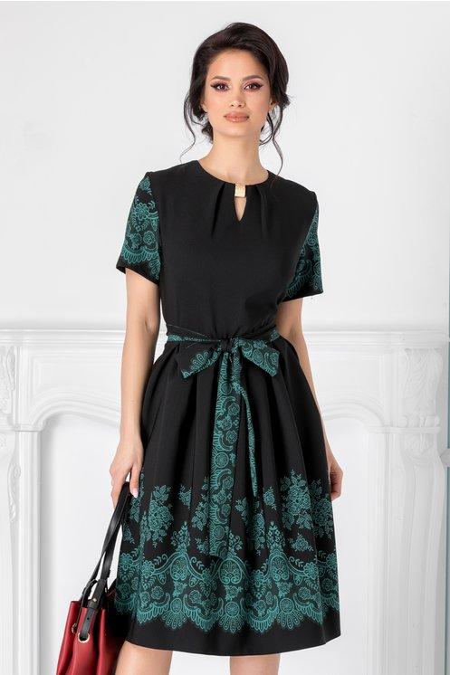 Rochie Thea neagra cu flori verzi