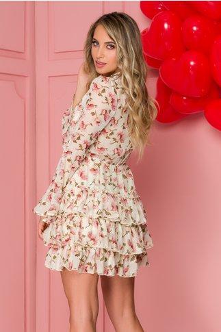 Rochie Theo ivory cu floricele roz