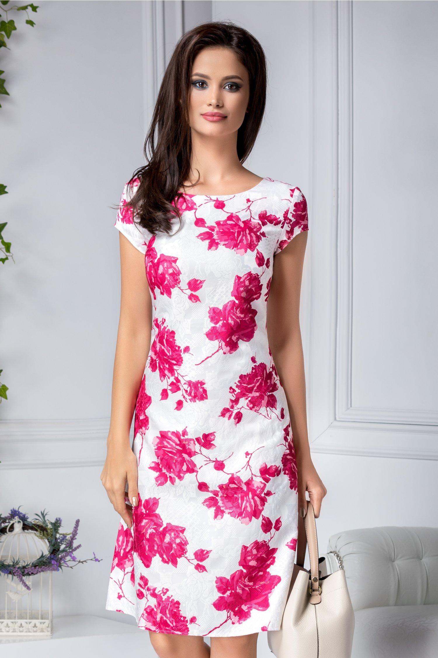 Rochie Tiana alba din bumbac cu imprimeu floral roz